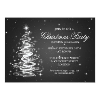 Elegant Christmas Party Sparkling Tree Black 4.5x6.25 Paper Invitation Card