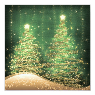 Elegant Christmas Party Sparkling Trees Green Card