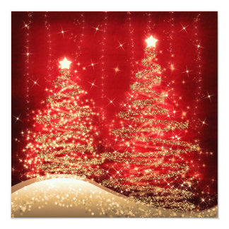 Elegant Christmas Party Sparkling Trees Red Card