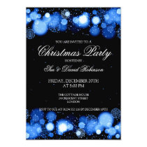 Elegant Christmas Party Winter Wonder Blue Invitation
