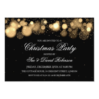 Elegant Christmas Party Winter Wonder Gold 5x7 Paper Invitation Card