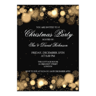 Elegant Christmas Party Winter Wonder Gold Card at Zazzle
