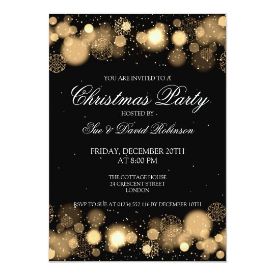 elegant christmas party winter wonder gold card | zazzle, Party invitations