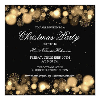 Elegant Christmas Party Winter Wonder Gold Invitation
