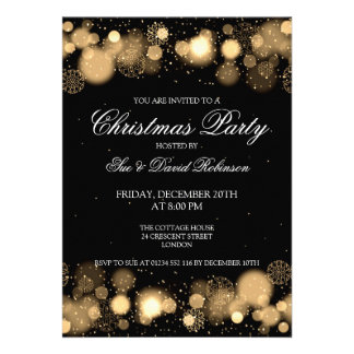 Elegant Christmas Party Winter Wonder Gold Personalized Announcements