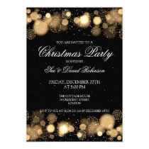 Elegant Christmas Party Winter Wonder Gold Invitation