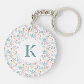Elegant Christmas Pastel Snowflakes Keychain