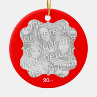 Elegant Christmas personalized your photo and year Double-Sided Ceramic Round Christmas Ornament