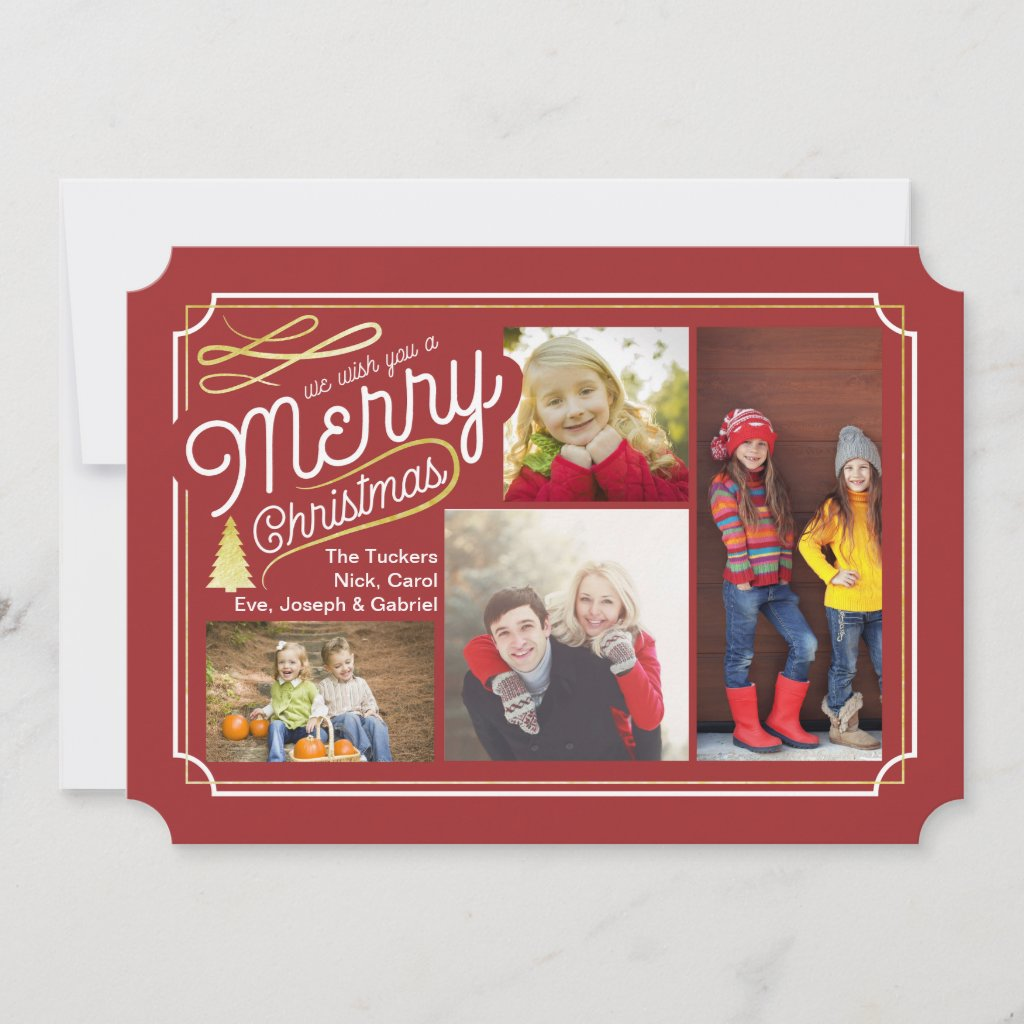Elegant Christmas Photo Card Collage, Red and Gold