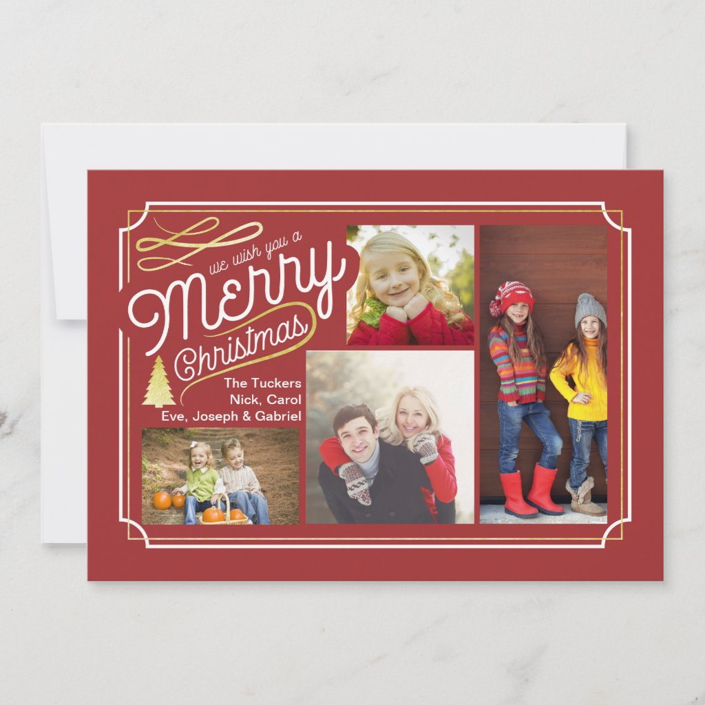 Elegant Christmas Photo Card Collage, Red Gold