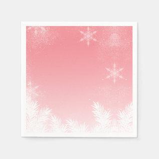 Elegant Christmas Pink Snowflake Pine Winter Napkin at Zazzle
