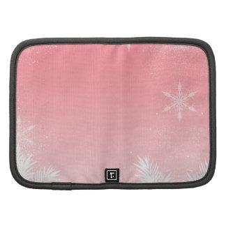 Elegant Christmas Pink Snowflake Pine Winter Planner