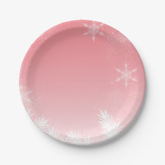 Elegant Christmas Pink Snowflake Pine Winter 7 Inch Paper Plate