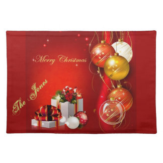 Elegant Christmas Placemat With Your Family Name