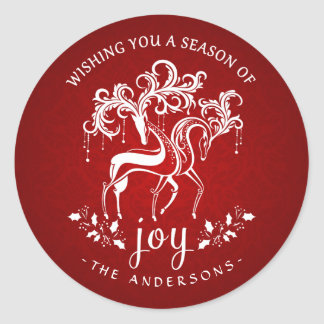 Elegant Christmas Reindeer Joy - Red and White Classic Round Sticker
