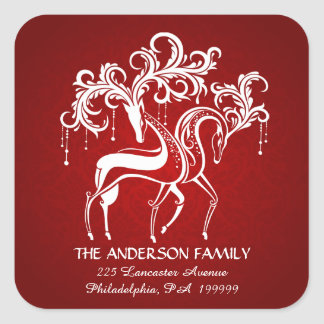 Elegant Christmas Reindeer Return Address Stickers