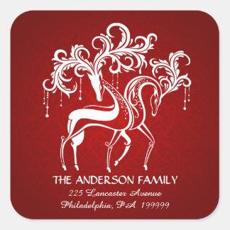 Elegant Christmas Reindeer Return Address Stickers