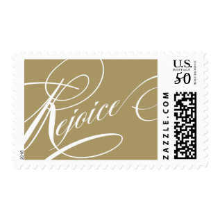 Elegant Christmas Rejoice Script Holiday Stamps at Zazzle