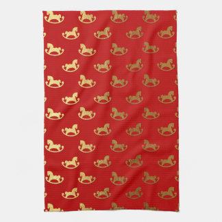 Elegant Christmas Rocking Horse Gold Pattern Hand Towel