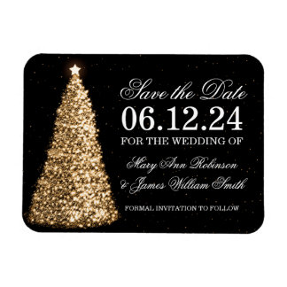 Elegant Christmas Save The Date Gold Magnet