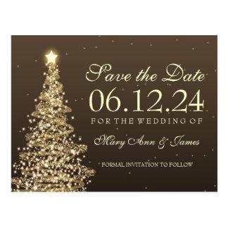 Elegant Christmas Save The Date Gold Postcard