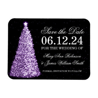 Elegant Christmas Save The Date Gold Purple Magnet