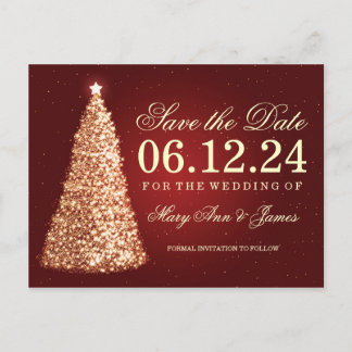 Elegant Christmas Save The Date Gold Red Announcement Postcard