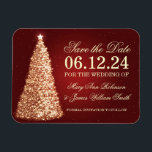 "Elegant Christmas Save The Date Gold Red Magnet<br><div class=""desc"">Elegant Christmas wedding &quot;Save The Date&quot; design with Christmas Sparkling Tree Gold &amp; Red,  and custom names and date text.</div>"