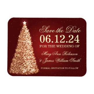 Elegant Christmas Save The Date Gold Red Magnet