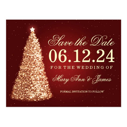 Elegant christmas save the date gold red postcard zazzle for Elegant christmas card ideas