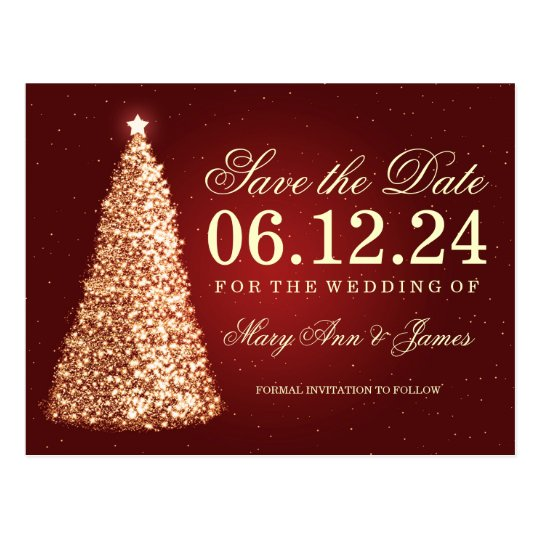 elegant christmas save the date gold red postcard  zazzle