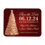 Elegant Christmas Save The Date Gold Red Rectangular Photo Magnet