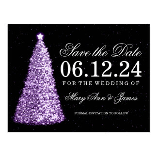 Elegant Christmas Save The Date Purple Postcard