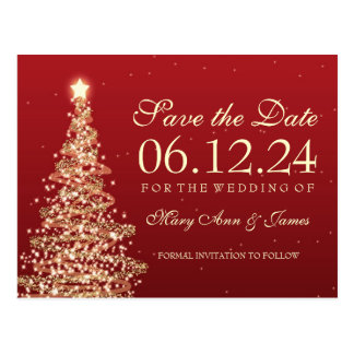 Elegant Christmas Save The Date Red Gold Postcard