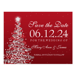 Elegant Christmas Save The Date Red Silver Postcard