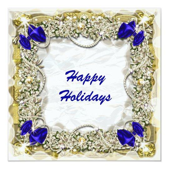Elegant Christmas snow blue gold wreath Card