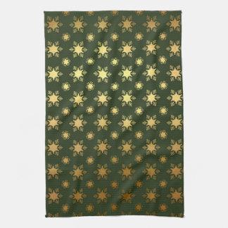 Elegant Christmas Snowflake Gold Foil Pattern Hand Towel