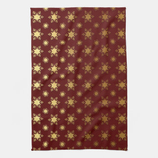 Elegant Christmas Snowflake Gold Foil Pattern Kitchen Towel