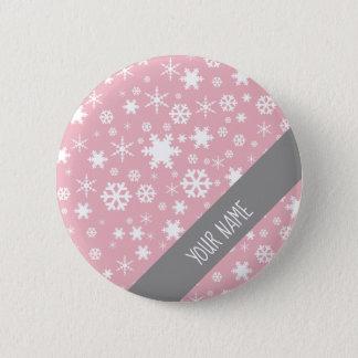 Elegant Christmas snowflake pattern pastel pink Button