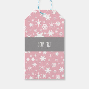 ea56ea4dc1b39 Elegant Christmas snowflake pattern pastel pink Gift Tags