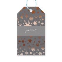 Elegant Christmas snowflake pattern rose gold Gift Tags
