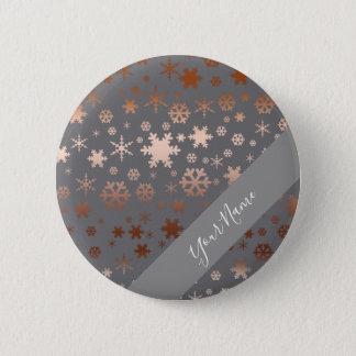 Elegant Christmas snowflake pattern rose gold Pinback Button