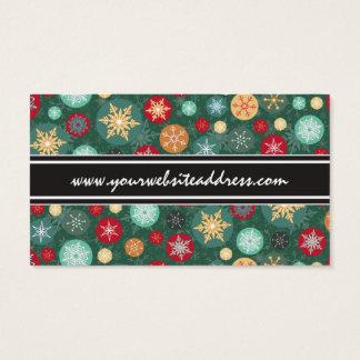 Elegant Christmas Snowflake Polka Dot Pattern Business Card