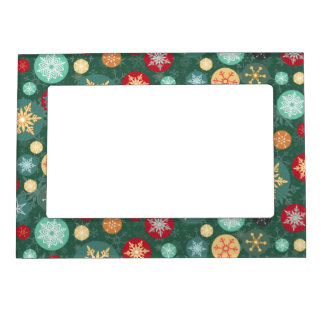 Elegant Christmas Snowflake Polka Dot Pattern Magnetic Photo Frame