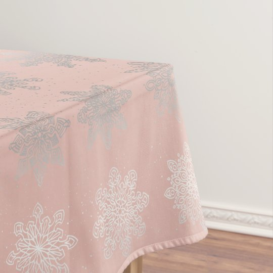 Elegant Christmas snowflake silver rose gold Tablecloth
