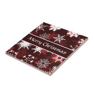 Elegant Christmas snowflakes Tile