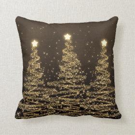 Elegant Christmas Sparkling Trees Black Brown Pillow