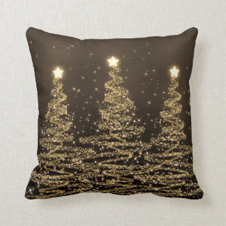 Elegant Christmas Sparkling Trees Black Brown Throw Pillow