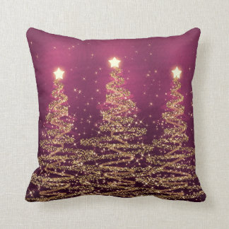 Elegant Christmas Sparkling Trees Pink Purple Throw Pillow