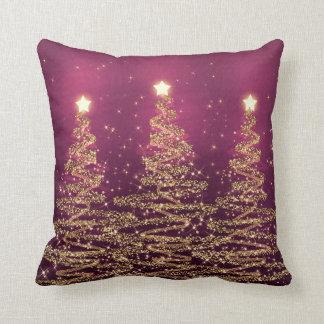 Elegant Christmas Sparkling Trees Pink Purple Throw Pillow